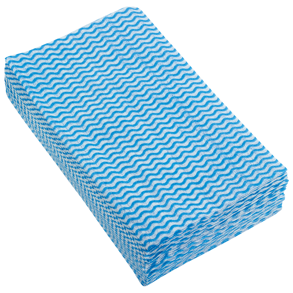 Business Anti-microbial Cleaning Cloths Wavy Line 40gsm Blue (Pack of 50)