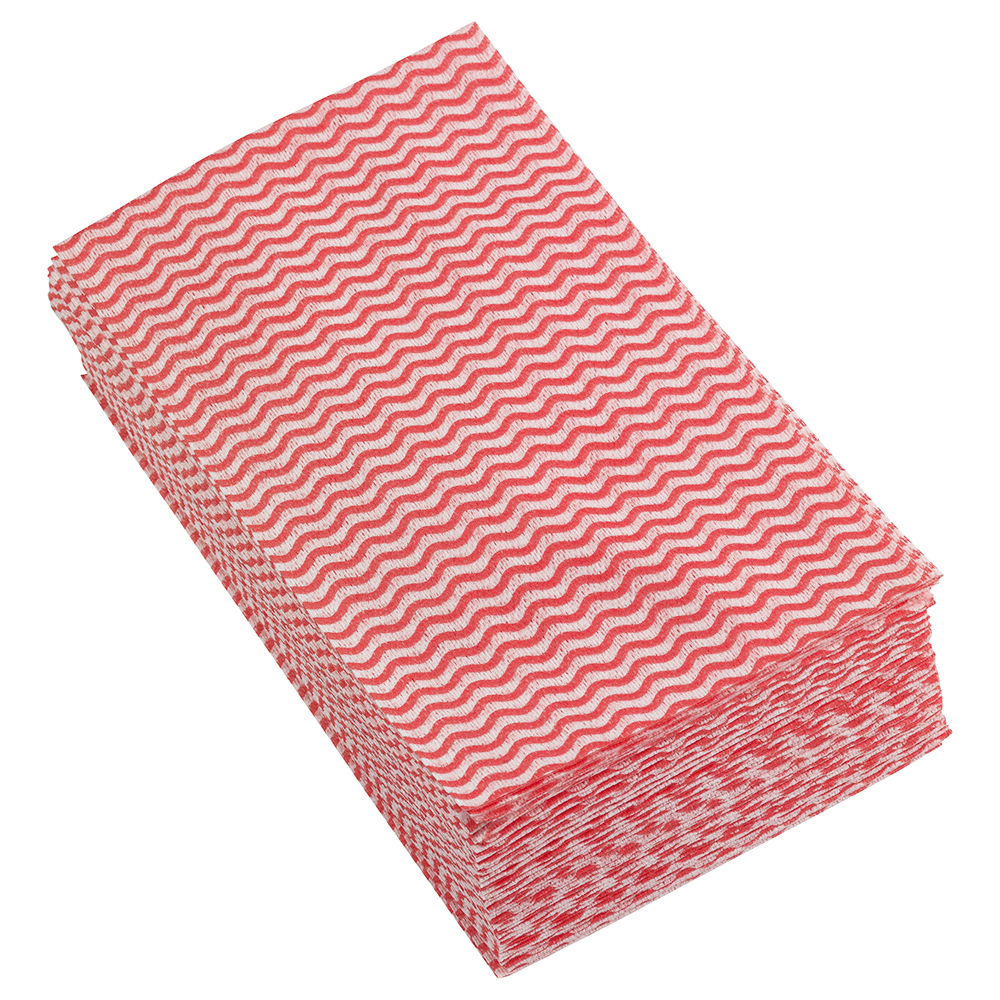 Business Facilities Cleaning Cloths Anti-microbial 40gsm W500xL300mm Wavy Line Red Pack 50