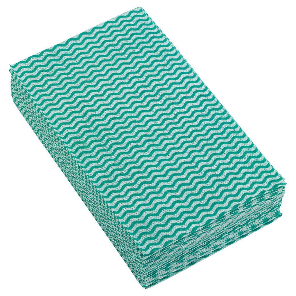 Business Facilities Cleaning Cloths Anti-microbial 40gsm W500xL300mm Wavy Line Green Pack 50