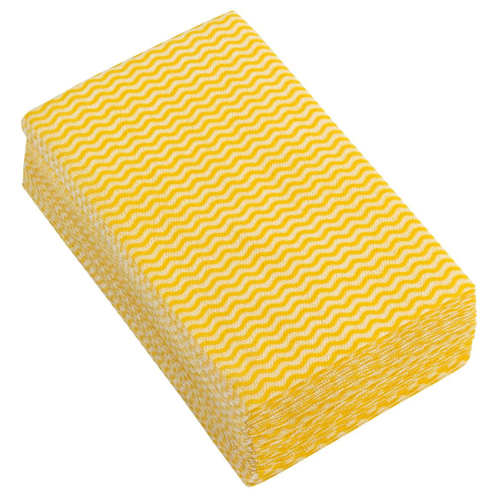 Business Facilities Cleaning Cloths Anti-microbial 40gsm W500xL300mm Wavy Line Yellow Pack 50