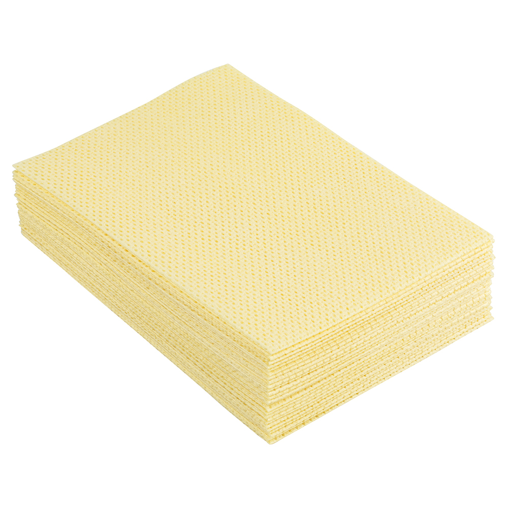 Business Facilities Cleaning Cloths Anti-microbial Heavy-duty 76gsm W500xL300mm Yellow Pack 25