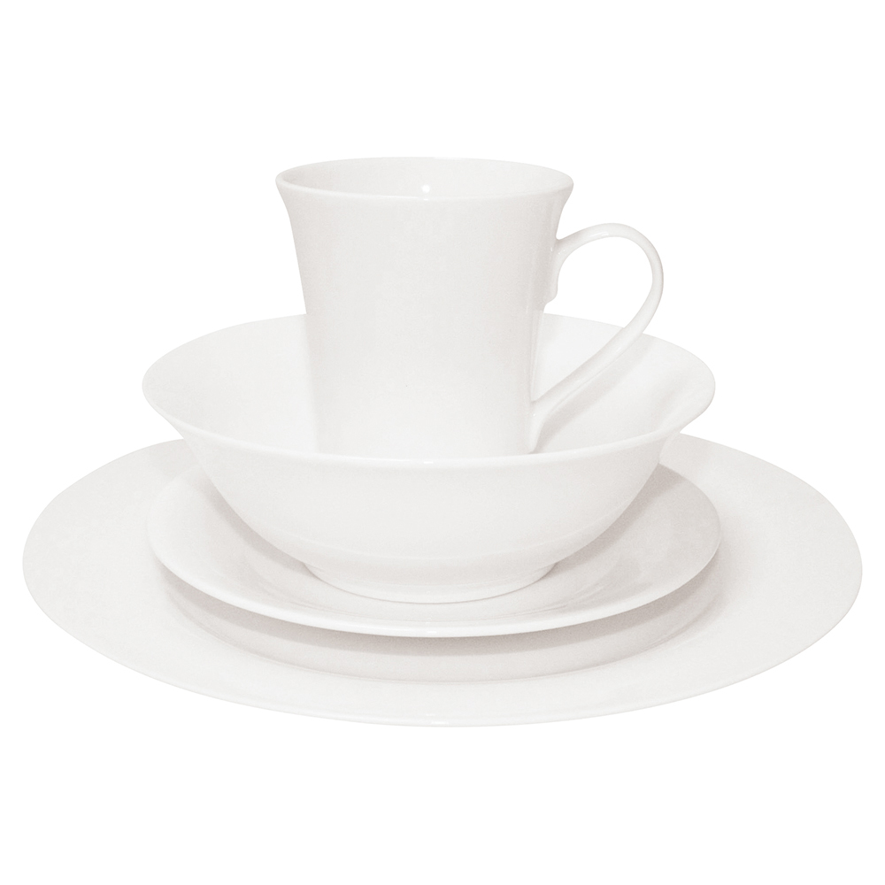 Business Fine Bone China Dinner Set 16 Piece White (Pack of 1 set)