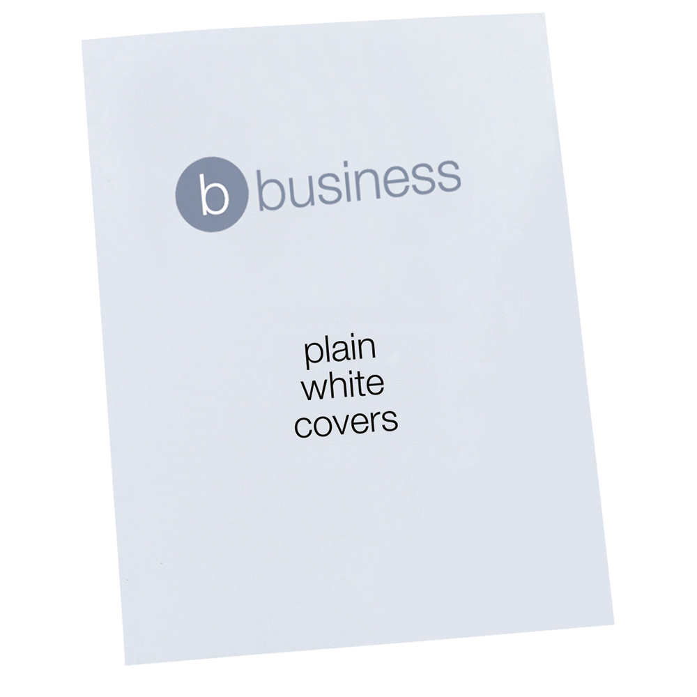 Business Comb Binding Covers 250 gsm A4 Plain Gloss White (Pack of 100)