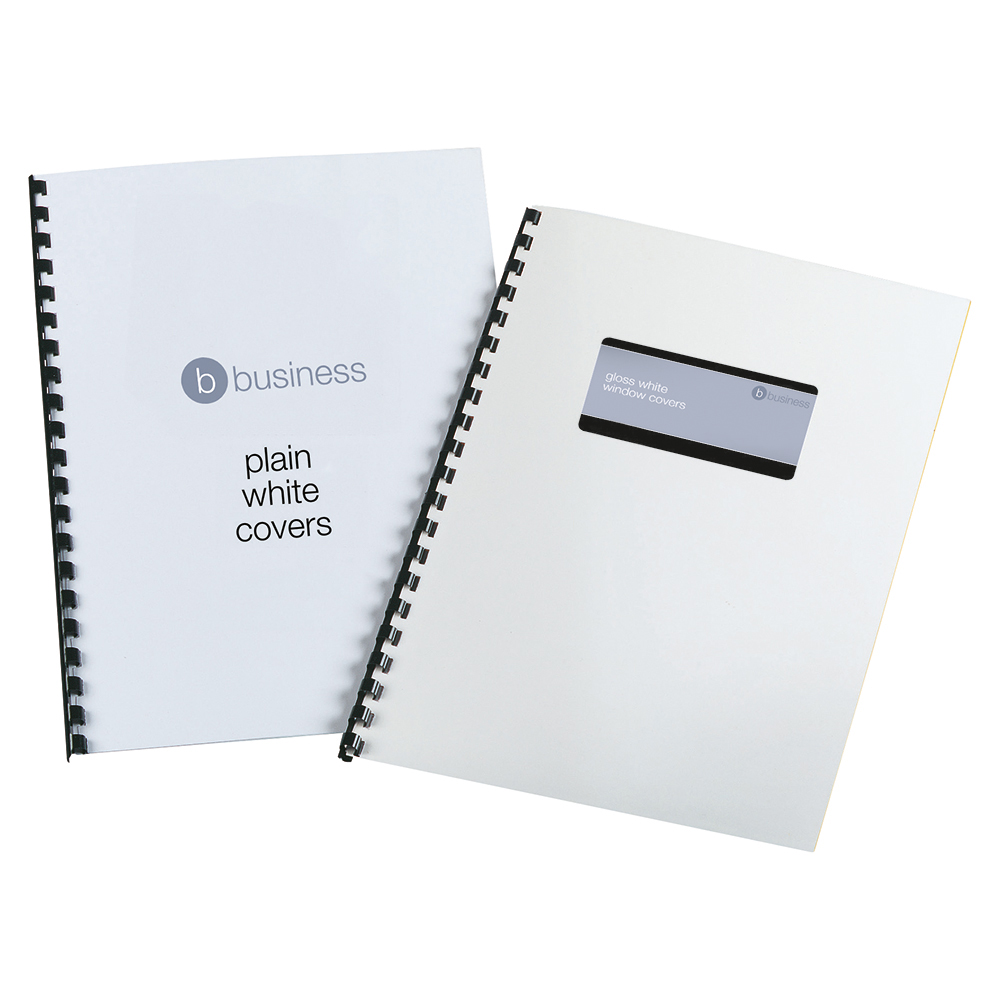 Business Comb Binding Covers 250 gsm Window & Plain A4 Gloss White (Pack of 50 x 2)