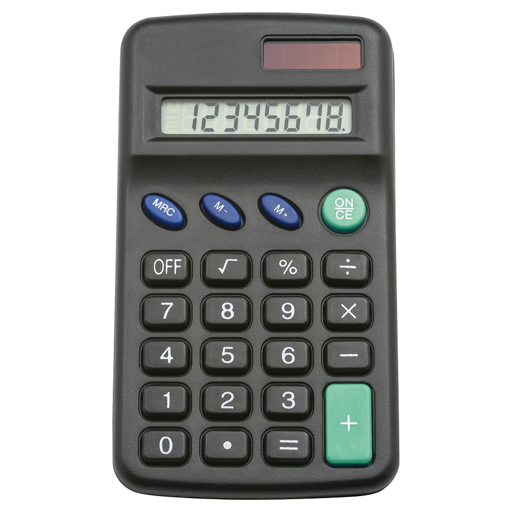 Business Office Pocket Calculator 8 Key Display Solar and Battery Power 63x17x113mm Black