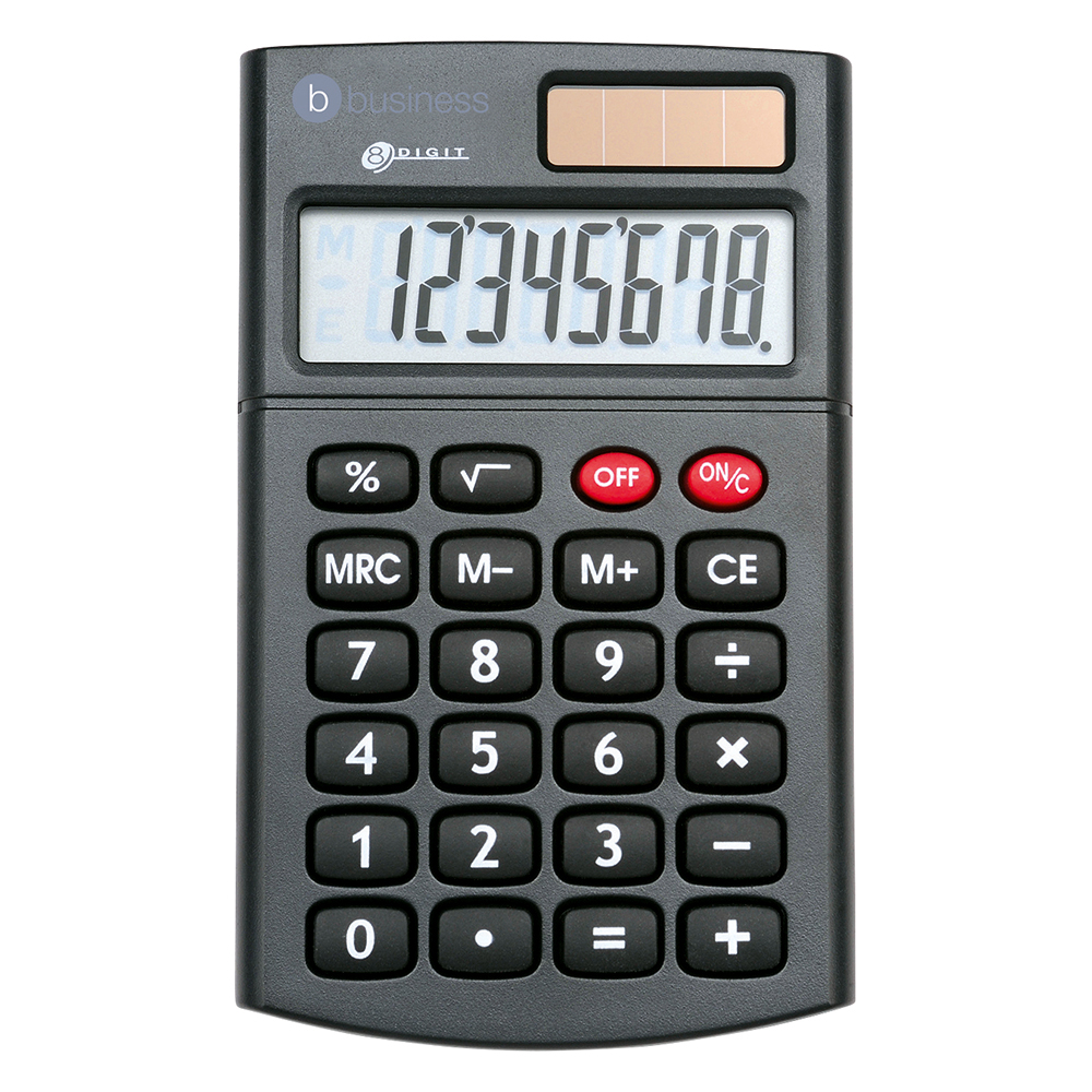 Business Office Handheld Calculator 8 Digit 3 Key Memory Solar and Battery Power 56x8x100mm Black
