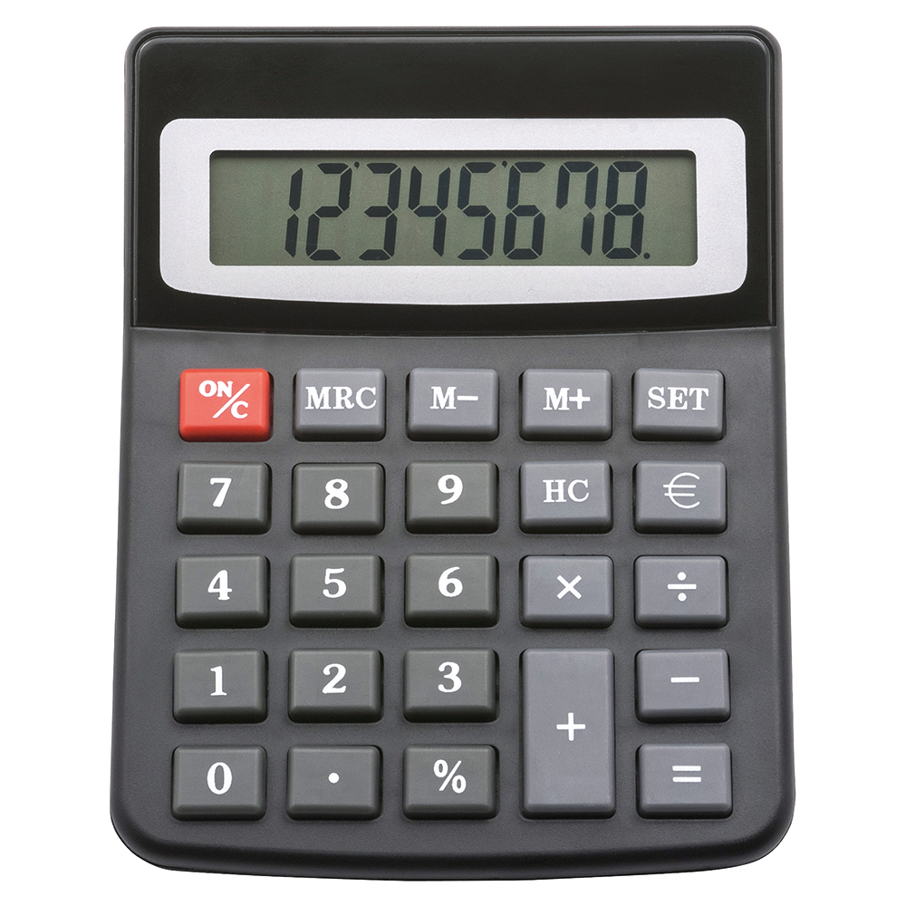 Business Office Desktop Calculator 8 Digit Display 3 Key Memory Battery/Solar Power 100x13x130mm Black