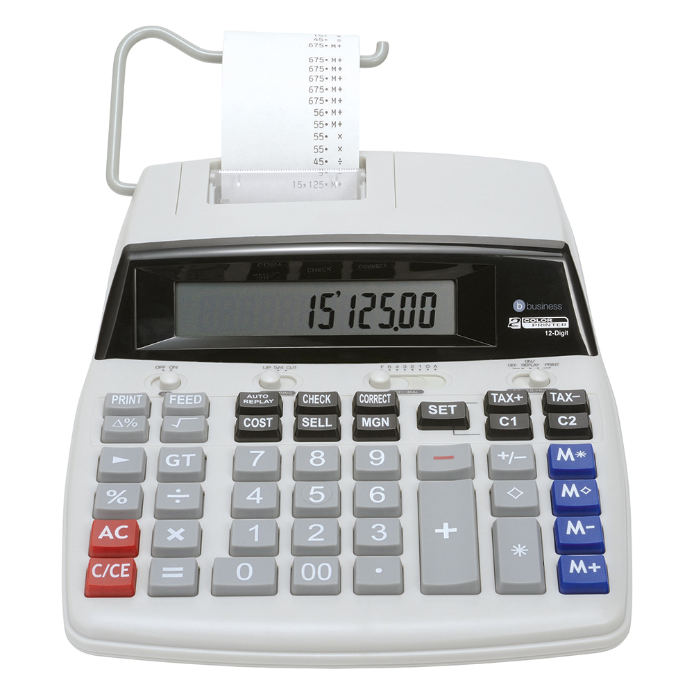 Business Office Desktop Printing Calculator 12 Digit Display 2 Colour Print 2.7 Lines/Sec 198x65x260mm Grey