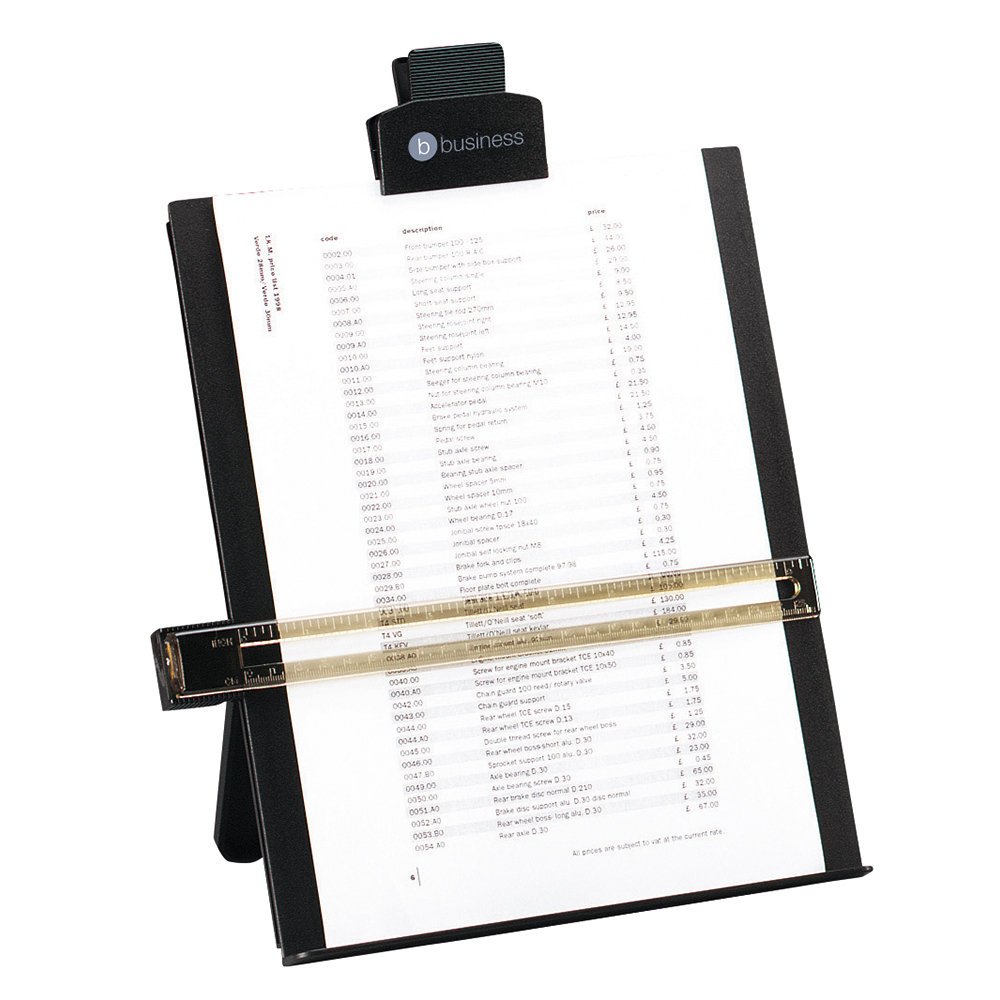 Business Desktop Copyholder with Line Guide Ruler A4 Black (Pack of 1)