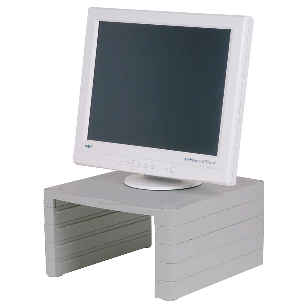 Business Desktop Monitor Stand Adjustable Height Capacity 15inch 18kg Light Grey (Pack of 1)