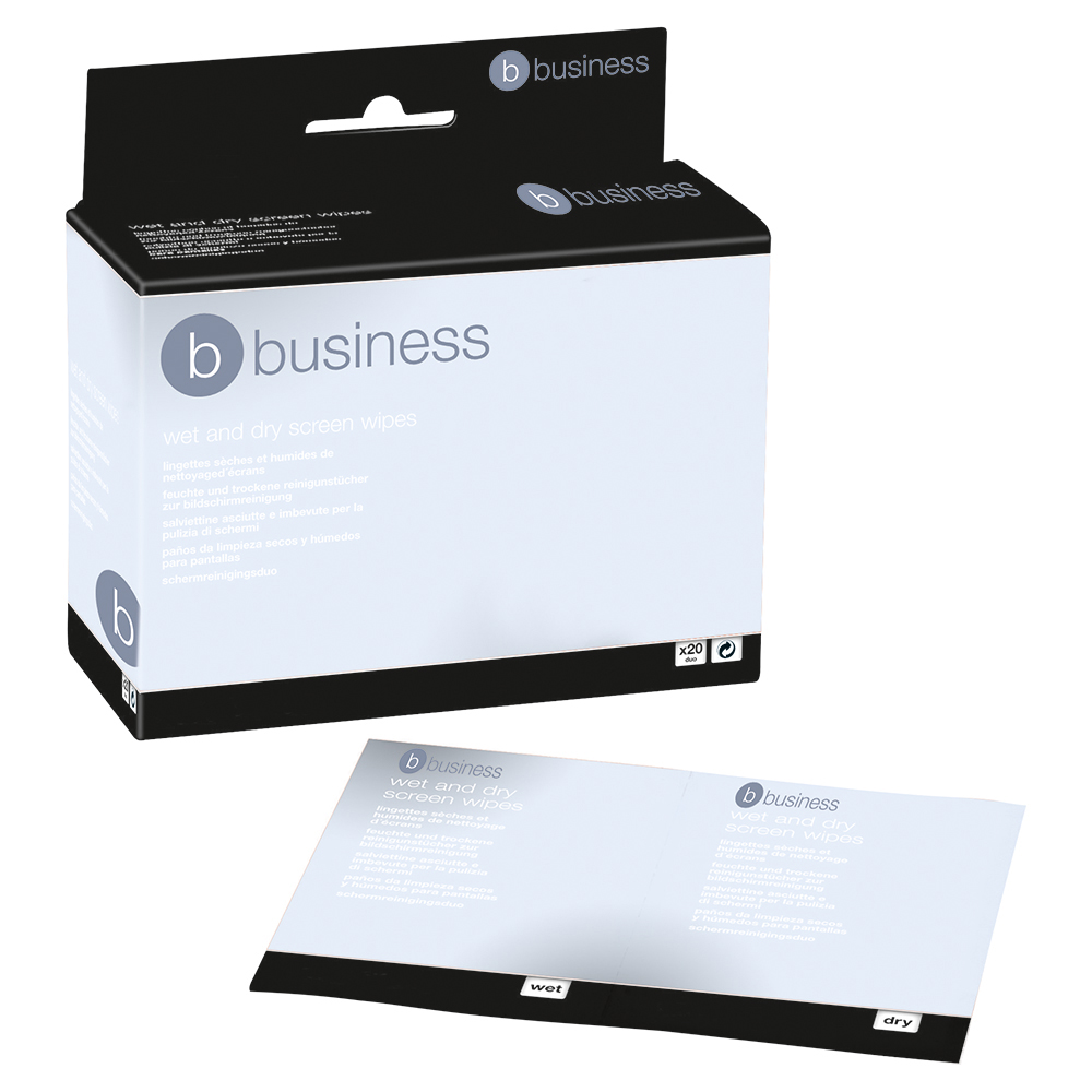 Business Office Screen Cleaning Duo Sachets of Wet and Dry Wipes Pack 20x2