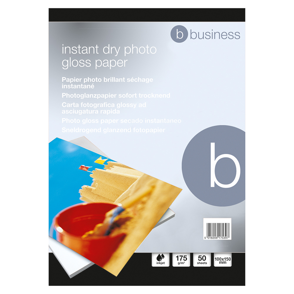 Business Photo Gloss Paper Inkjet 175gsm 100x150mm White (Pack of 50 sheets)