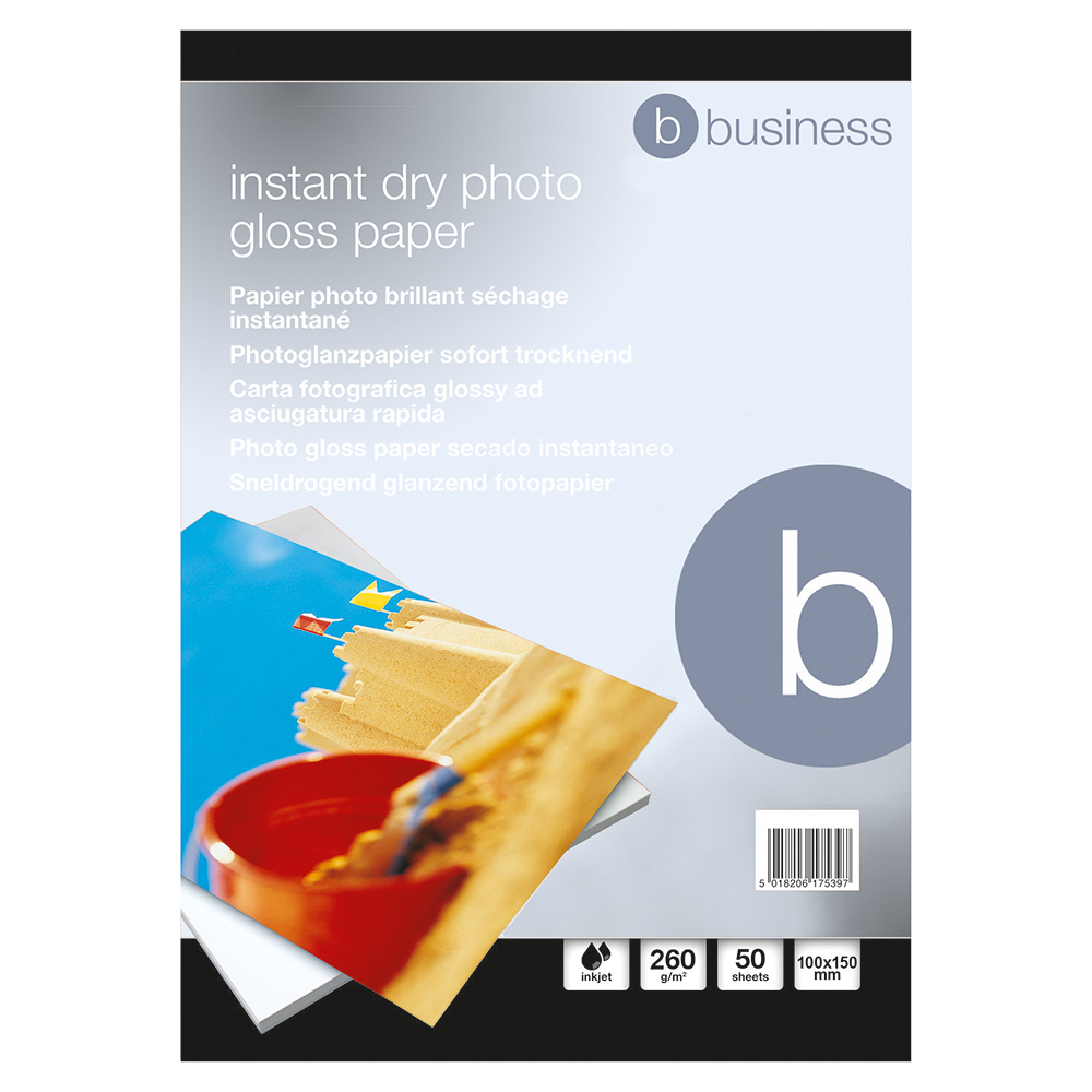 Business Photo Gloss Paper Inkjet 260gsm 100x150mm White (Pack of 50 sheets)