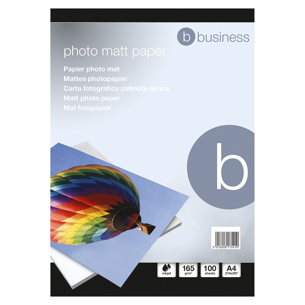 Business Photo Matt Paper Inkjet 165gsm A4 White (Pack of 100 sheets)
