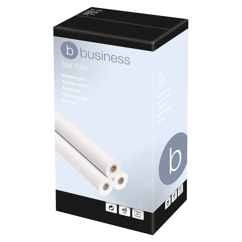 Business Thermal Fax Roll 210mm x 50m x 25.4mm core White (Pack of 6)