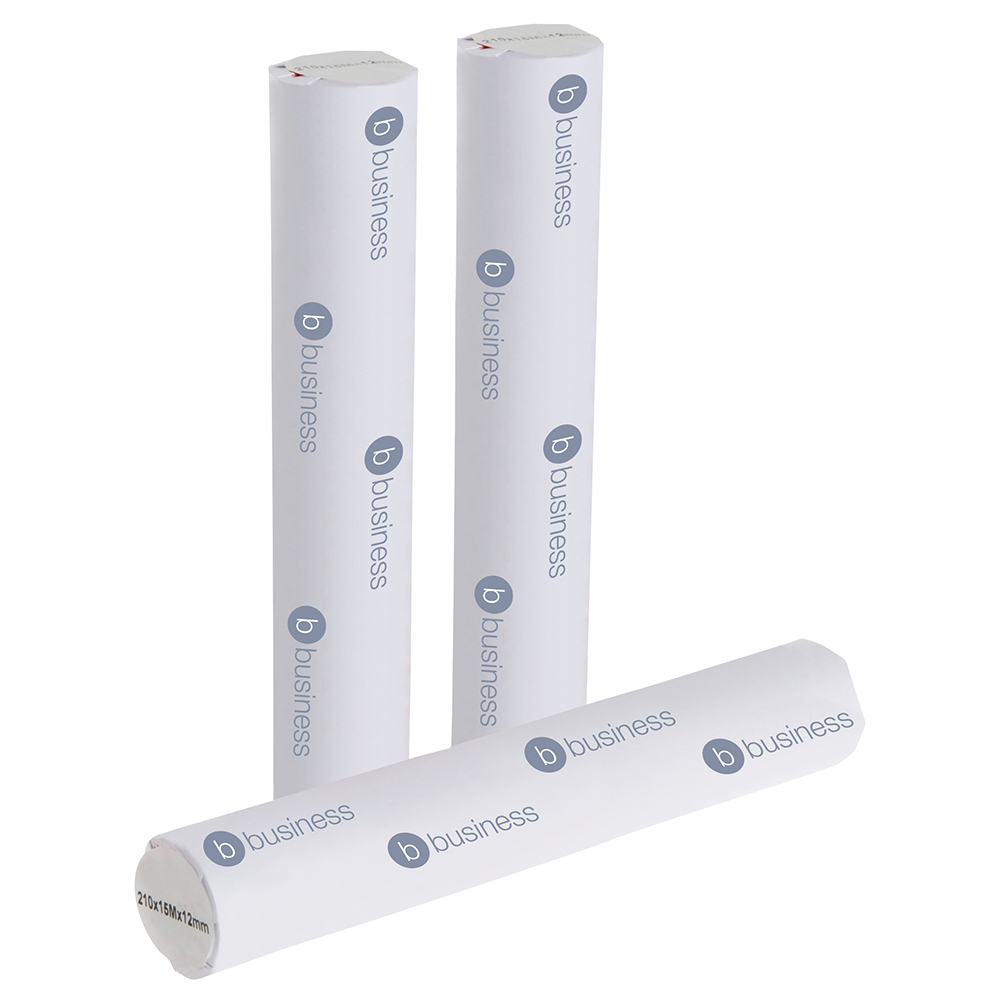 Business Thermal Fax Roll 210mm x 15m x 12.2mm core White (Pack of 6)
