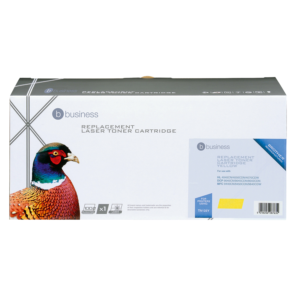 Business Compatible Brother Laser Toner Cartridge TN135Y Yellow (Pack of 1)