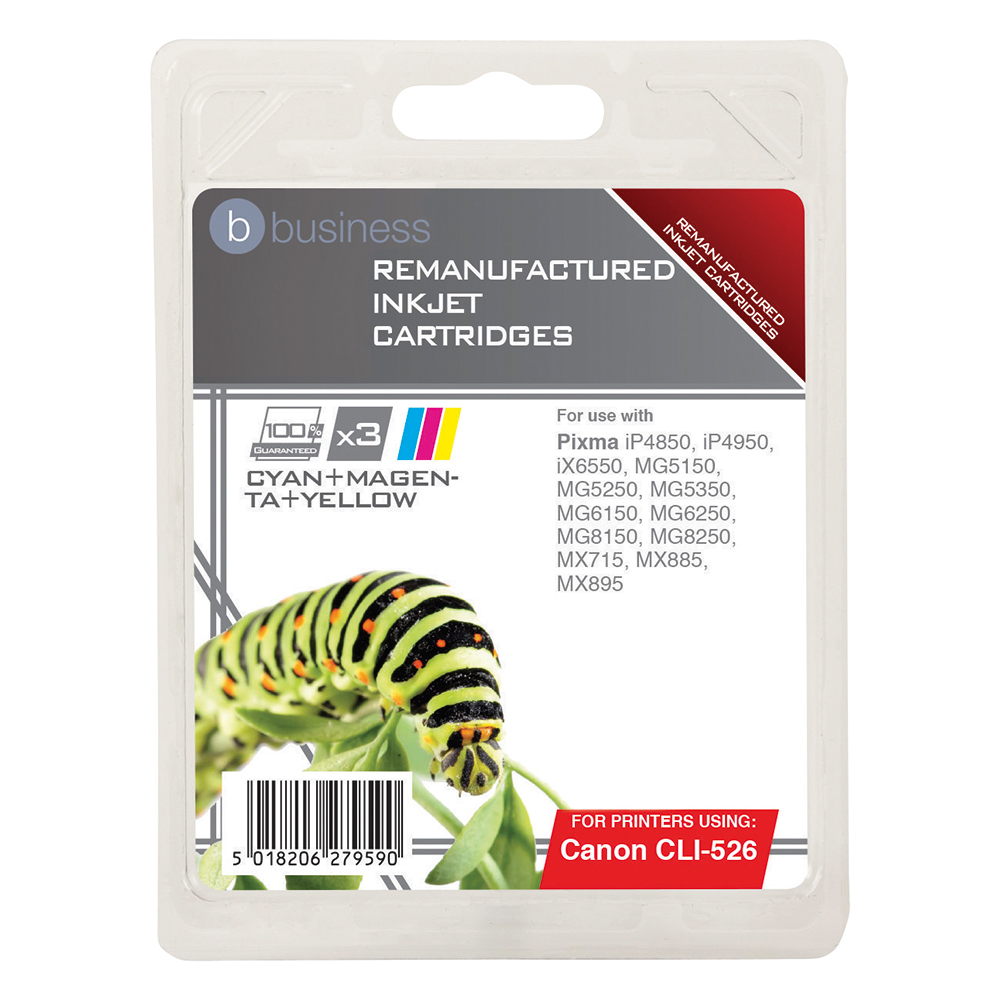 Business Compatible Canon Inkjet Cartridge CLI-526 3 Colour (Pack of 3)