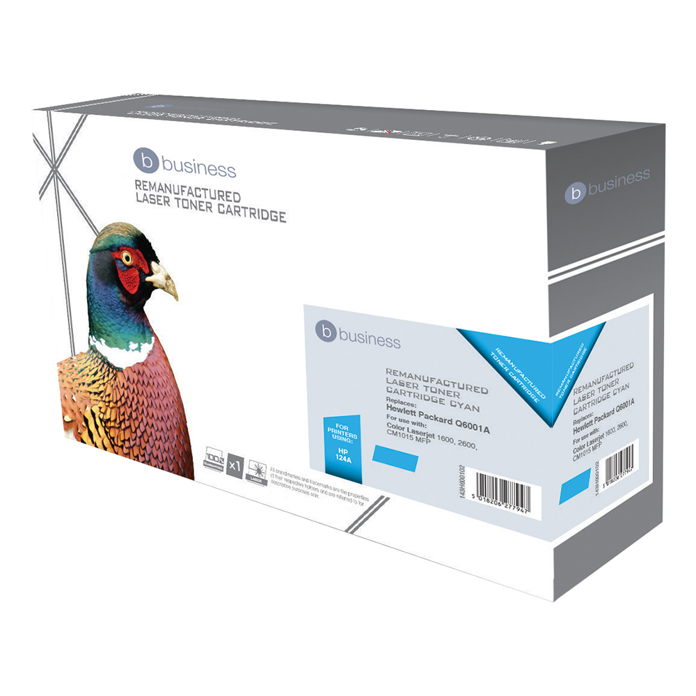 Business Compatible HP Laser Toner Cartridge 124A Cyan (Pack of 1)