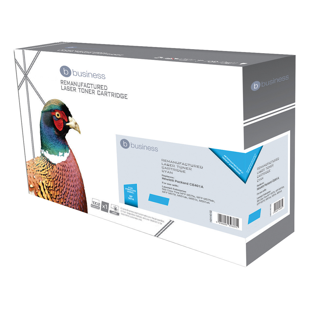 Business Compatible HP Laser Toner Cartridge 507A Cyan (Pack of 1)