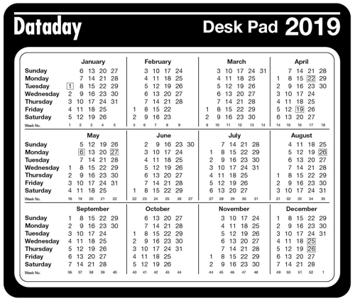 Year to View Desk Mouse Mat 2019